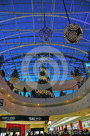 Christmas decorations in the shopping mall Editorial Image