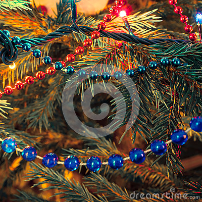 Christmas decorations on xmas tree