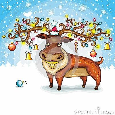 Free Christmas Deer Stock Photography - 22034222