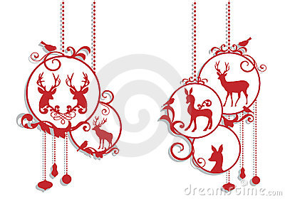 Christmas deer decoration, vector