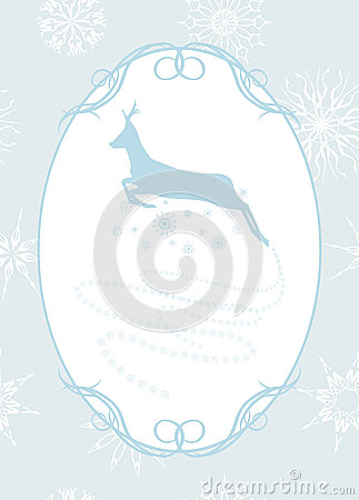 Christmas deer in the frame with snowflakes