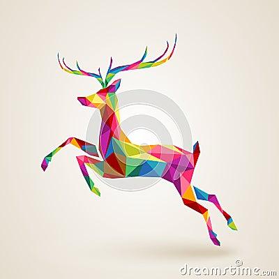 Free Christmas Deer Multicolor Origami Stock Image - 35583451