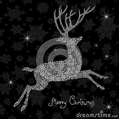 Christmas deer silhouette.