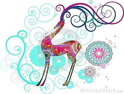Christmas deer with snowflakes, vector
