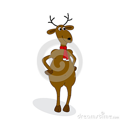 Christmas deer on white