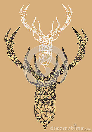 Free Christmas Deer With Geometric Pattern, Vector Stock Photos - 34321743