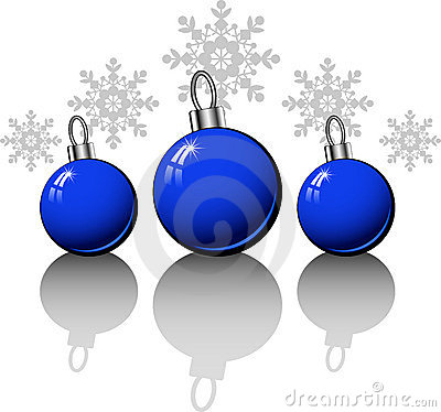 Christmas design elements with blue balls