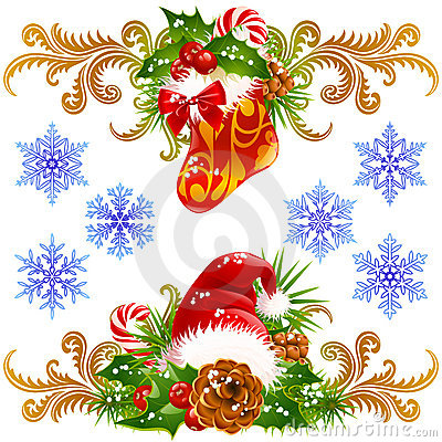 Christmas design elements set 4
