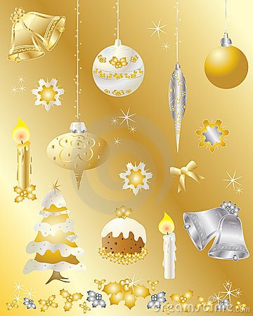 Christmas design elements set in gold and silver