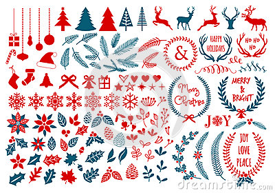 Christmas design elements, vector set Vector Illustration