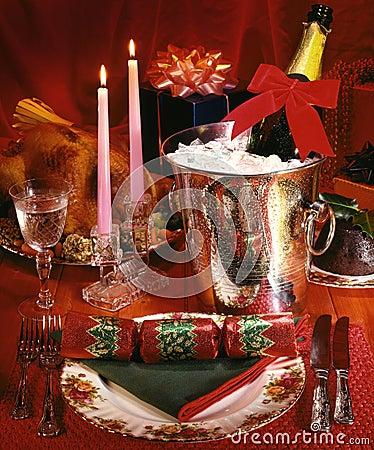 Christmas Dinner - Champagne Celebration Stock Photo