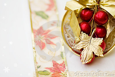 Christmas dinner red decoration - clipping path