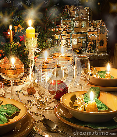 Christmas dinner table  with christmas mood