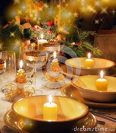 Free Christmas Dinner Table  With Christmas Mood Stock Image - 10910501