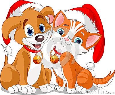 Christmas dog n cat