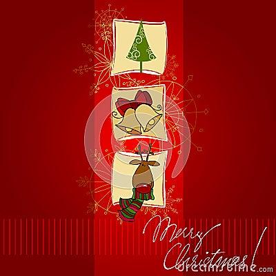 Christmas doodle greeting card design