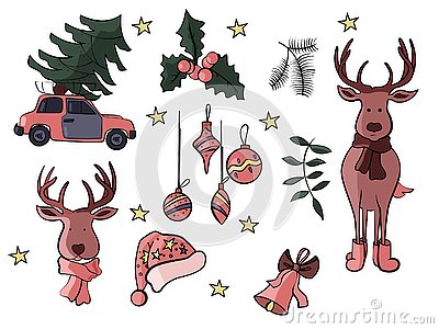 Christmas doodle icons and signs in vector Vector Illustration