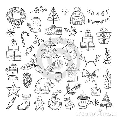 Christmas doodle set. Sketch christmas wreath, fir-tree and snowman, candles. Candies, santa hat and gift boxes vector Vector Illustration