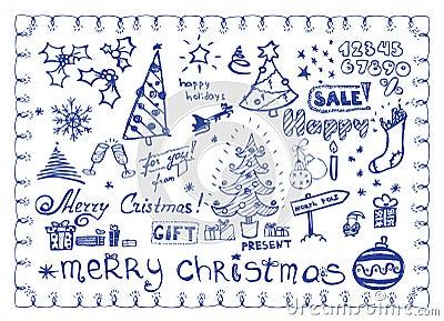 Christmas doodles / vector illustrations set