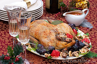 Christmas duck on holiday table