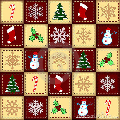Christmas elements over checked background