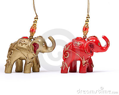 Christmas elephants  on white