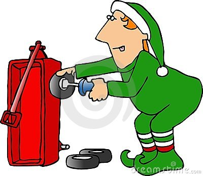 Christmas Elf assembling a red wagon