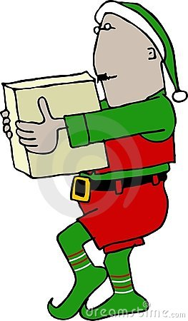 Christmas Elf carrying a box
