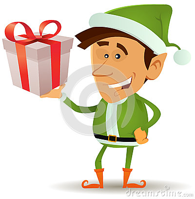 Free Christmas Elf Holding Gift Stock Images - 28141804