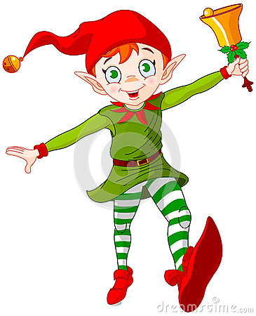 Free Christmas Elf Jump Royalty Free Stock Photos - 57148018