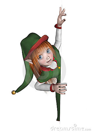 Free Christmas Elf Looking Around An Edge Stock Image - 11827071