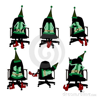 Christmas Elf Sitting In A Chair Silhouette