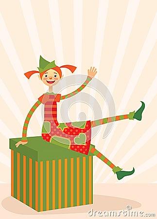 Christmas elf sitting on a gift box