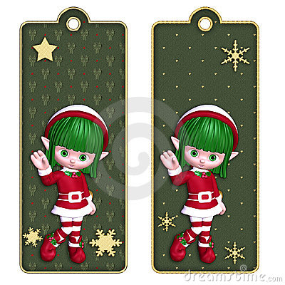 Christmas Elf Tags Or Bookmarks Stock Photo - Image: 12179240