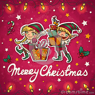Christmas elfs greeting card