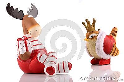 Christmas elk with bird.