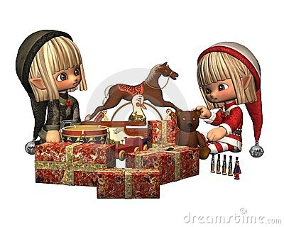 Christmas Elves - wrapping presents