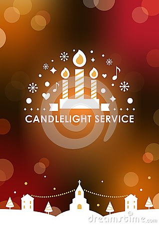 Christmas Eve Candlelight Service Invitation card Template. Blurry Bokeh Background. Vector Design Vector Illustration