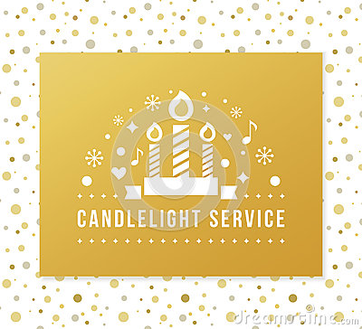 Christmas Eve Candlelight Service Invitation. Golden Foil and Dots Seamless Pattern Background Vector Illustration