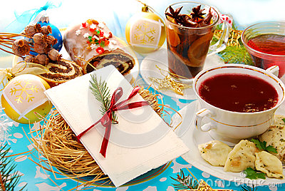 Christmas eve wafer and traditional dishes