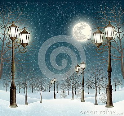 Free Christmas Evening Winter Landscape With Lampposts. Royalty Free Stock Photography - 47568527