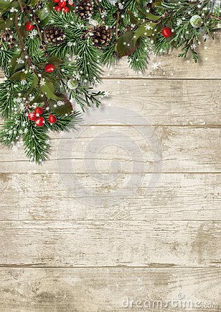 Free Christmas Evergreen Branches And Holly On Wood Background Royalty Free Stock Photos - 104955788