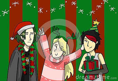 Christmas fashion illustration for postcard Cartoon Illustration