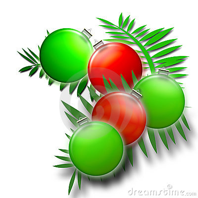 Christmas Ferns in Green and Red - Holiday Ornaments