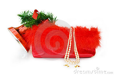Christmas festive bag isolated on white