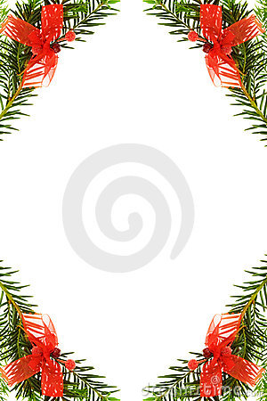 Christmas festive border with pine tree