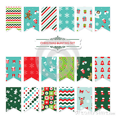 Free Christmas Festive Bunting Flags Set. Stock Images - 80987194