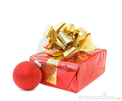Christmas festive gifts and red bauble