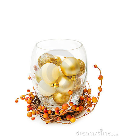 Free Christmas Festive Golden Baubles In Glass Bowl Stock Image - 10941141