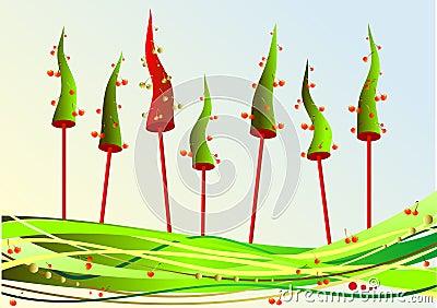 Christmas fir with cherries